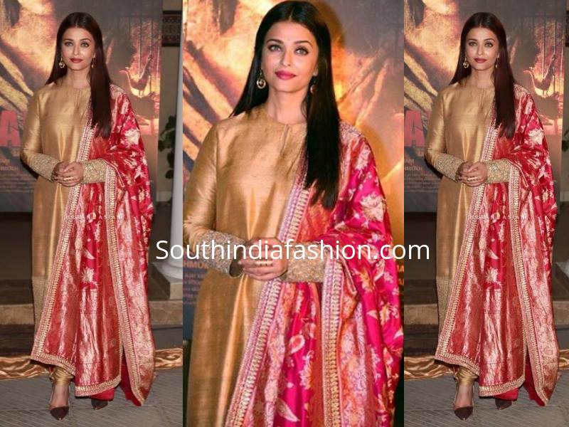 Gold anarkali and red dupatta