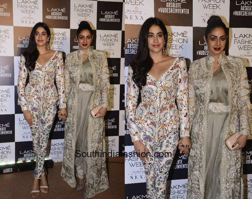 Jhanvi Kapoor and Sridevi Kapoor in Anamika Khanna at Lakme Fashion Week 2018