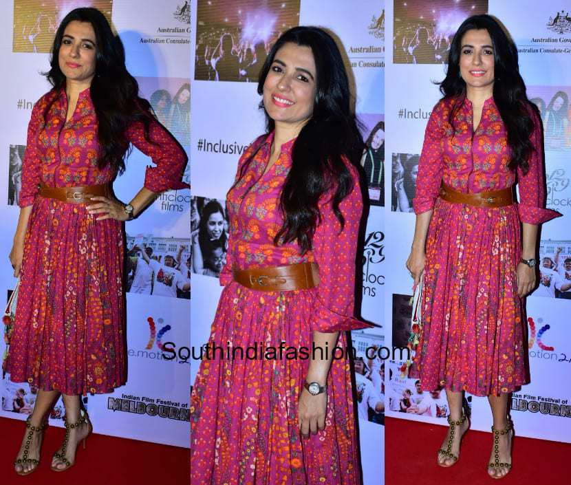 Mini Mathur in a midi dress at the screening of Onirs Documentary