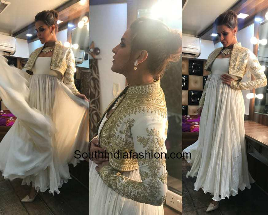 Neha Dhupia in Rohit Bal and Anmol jewels for an event in Kanpur