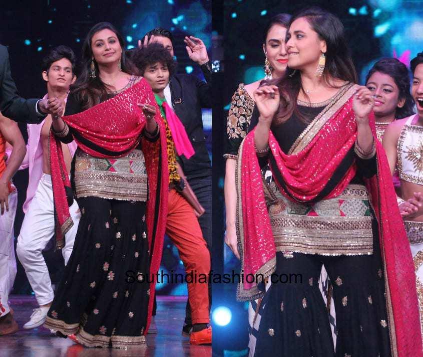 Rani Mukherjee in Sabyasachi for the promotions of Hicchki 1