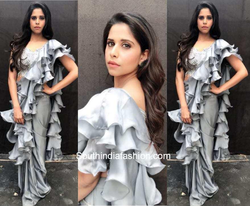 Sai Tamhankar in Krimson for Raakshas Movie Promotions