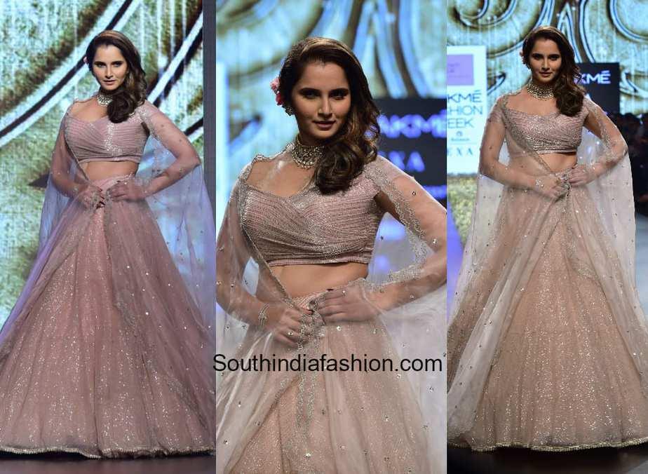 Sania Mirza in Anushree Reddy at Lakme Fashion Week 2018 1