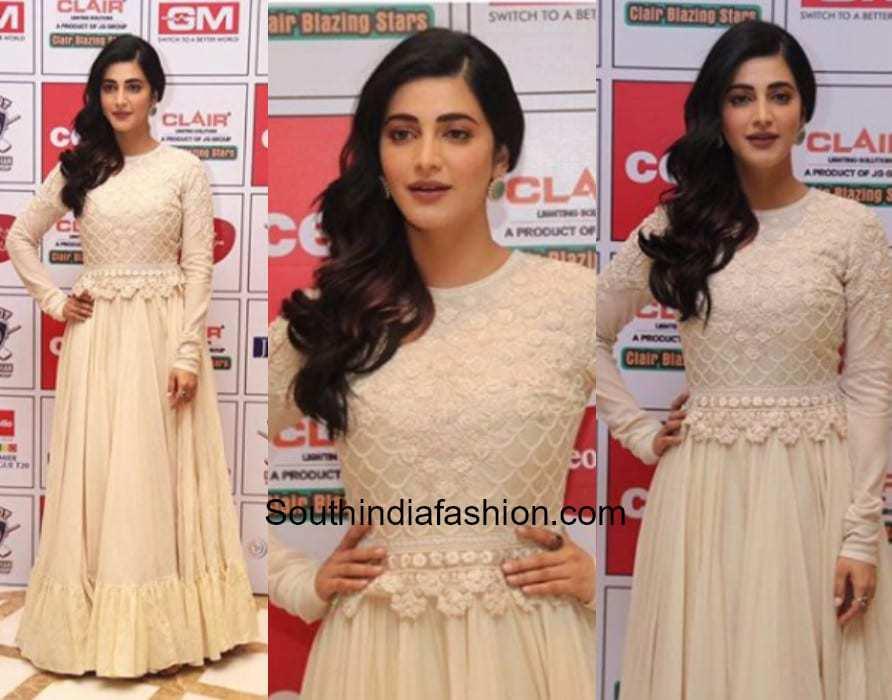 Shruti Haasan in Varun Bahl for an event in Chennai