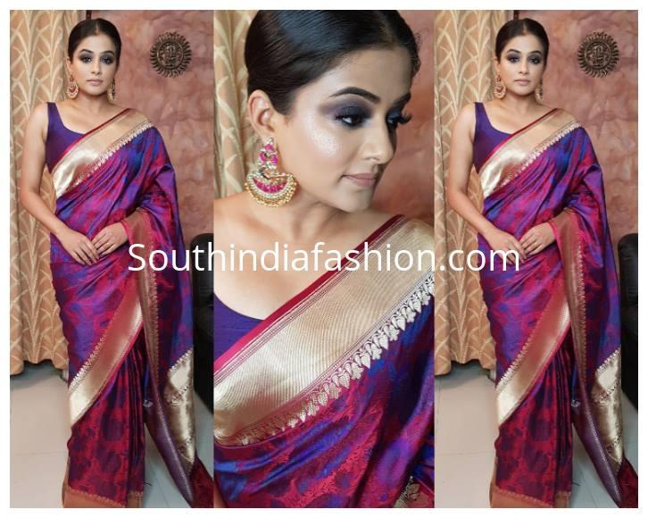 Smokey eyes makeup look for saree