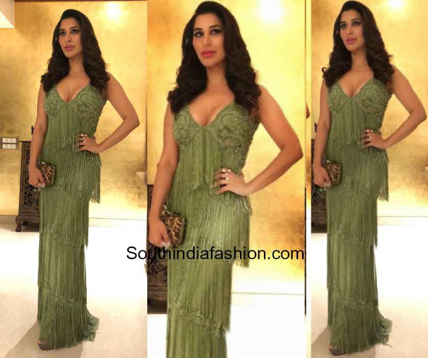 Sophie Choudry in a fringe dress by Karleo