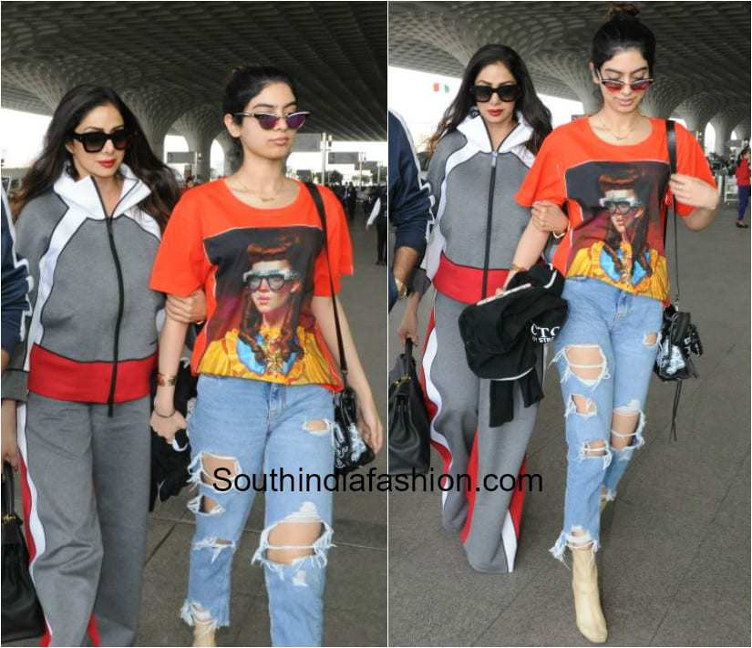 Sridevi Kapoor and Khushi Kapoor in western wear at the airport 1