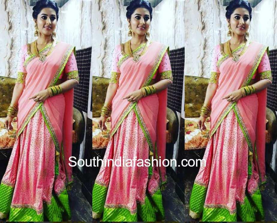 sneha prasanna pink half saree