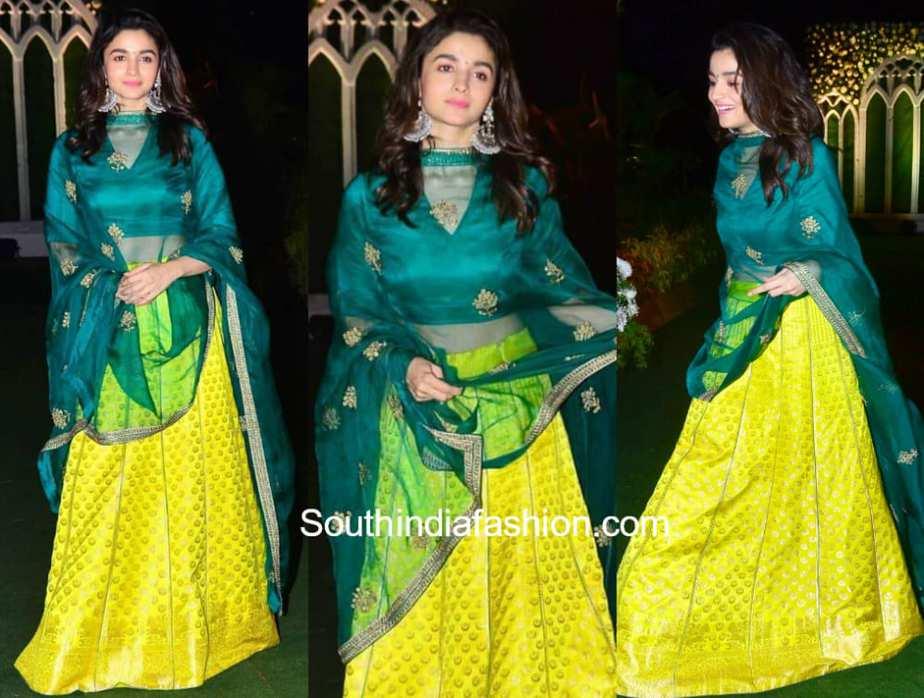 alia bhatt green lehenga