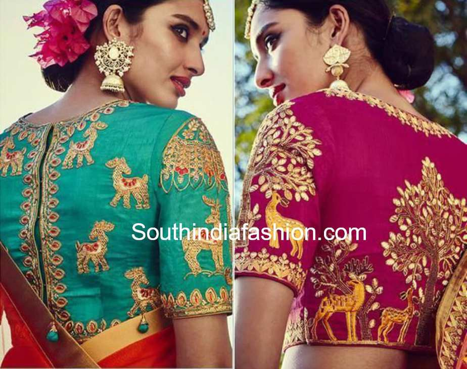 high neck maggam embroidery blouse designs