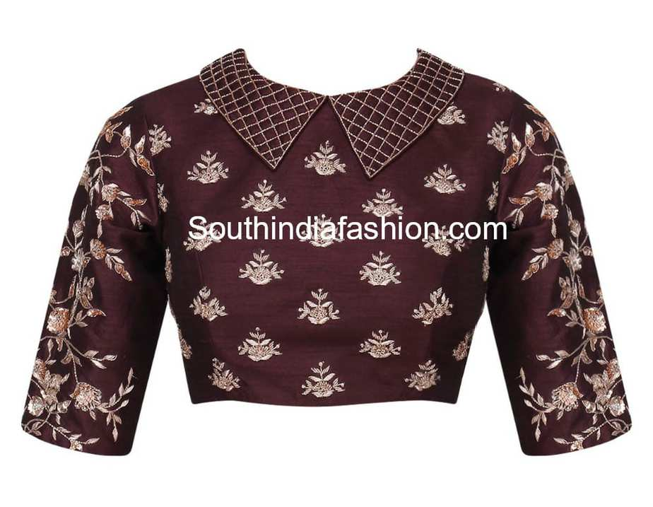 collar neck embroidery blouse
