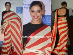 deepika padukone in sabyasachi striped saree