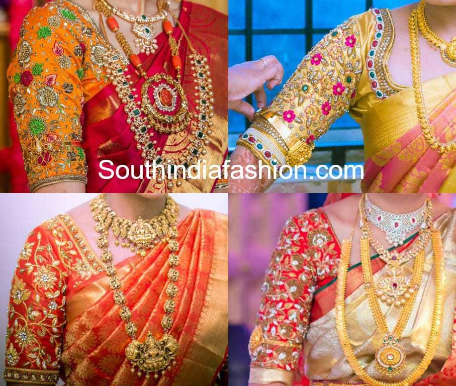 06ec12a34ad670 Floral Maggam Work Blouse Designs For Pattu Sarees – South India Fashion