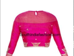 high neck full sleeves saree blouse