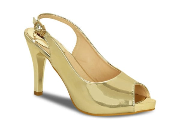Gold pumps with peep toes.