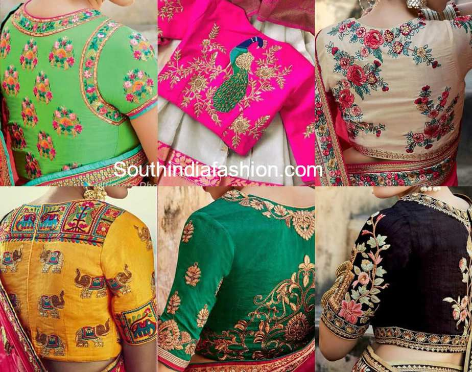High Back Neck Embroidered Blouse Designs - Designer Blouses 2018