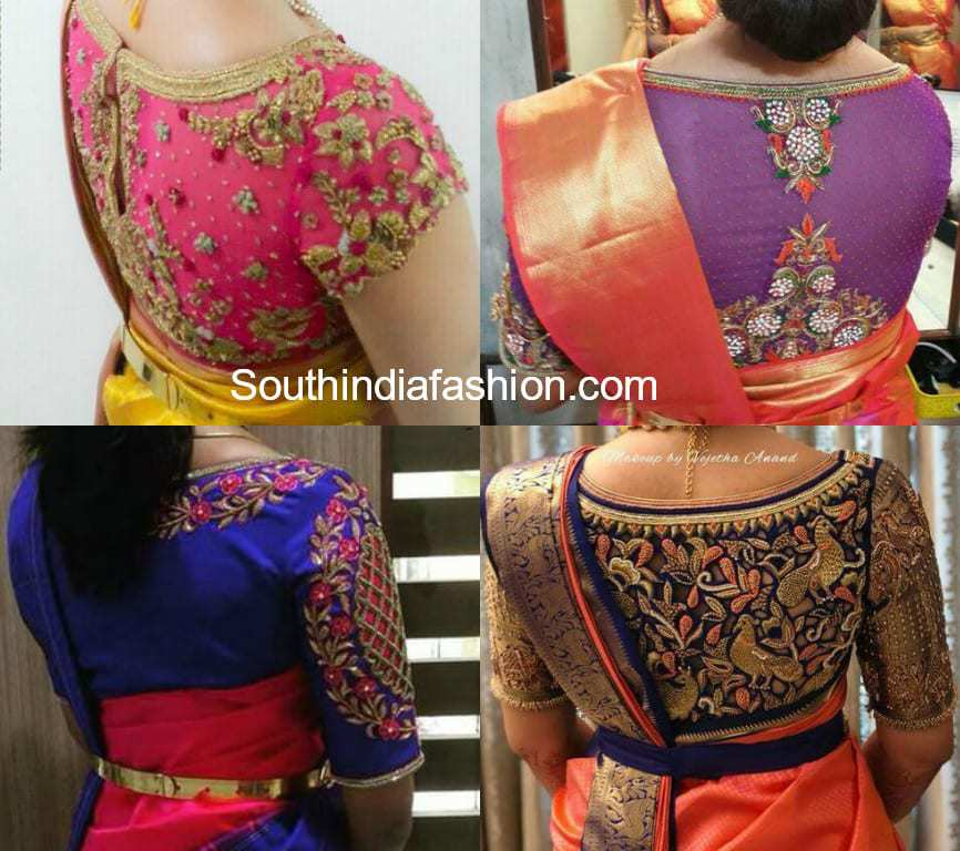 high back neck embroidery blouse designs