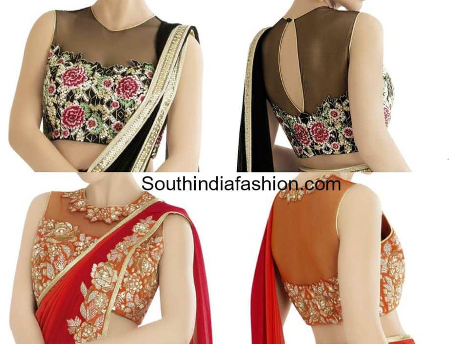 high neck net blouse designs