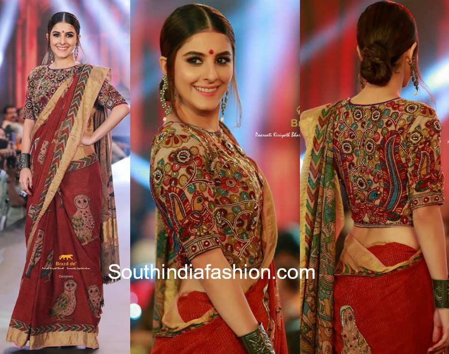 isha talwar in kalamkari handloom saree at kerala fashion week 2018