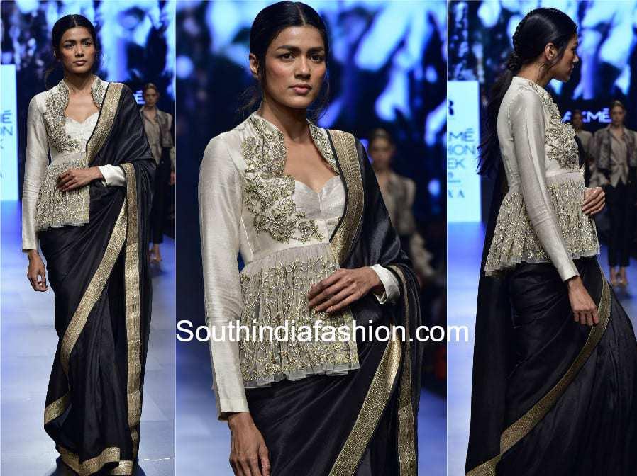 saree with peplum jacket by jayanti reddy