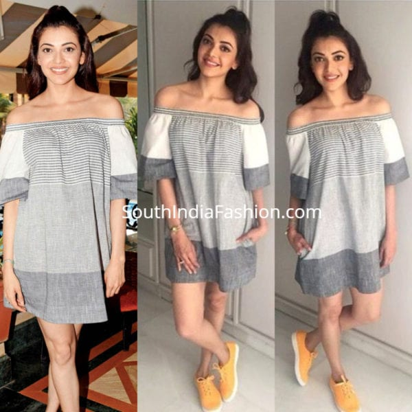 kajal-in-grey-off-shoulder-dress