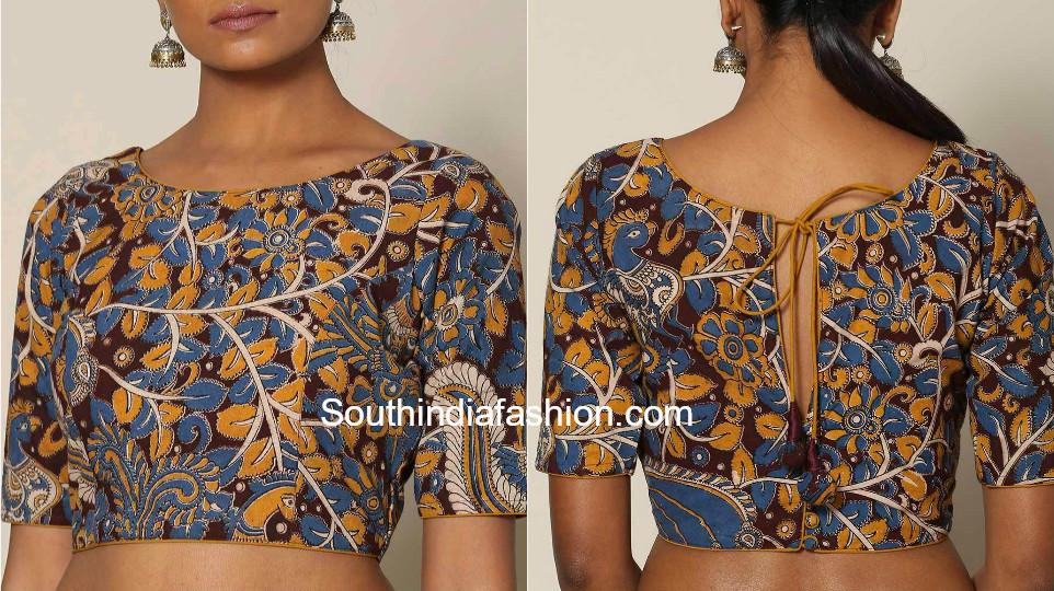 kalamkari blouse neck designs