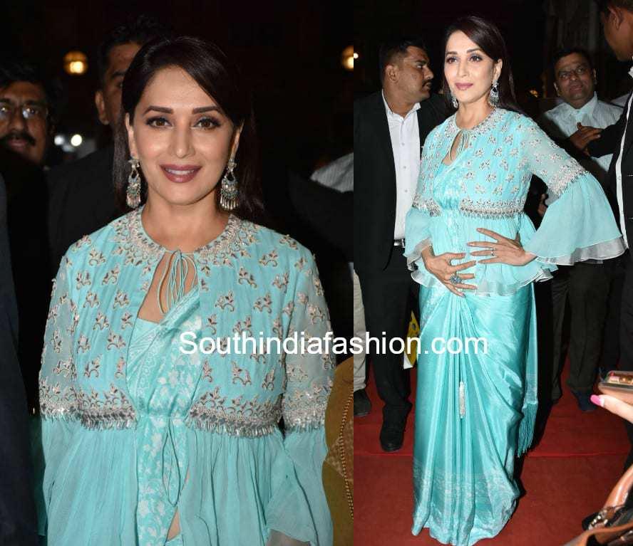 madhuri dixit in blue saree with peplum jacket
