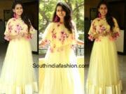 nitya naresh yellow cape gown