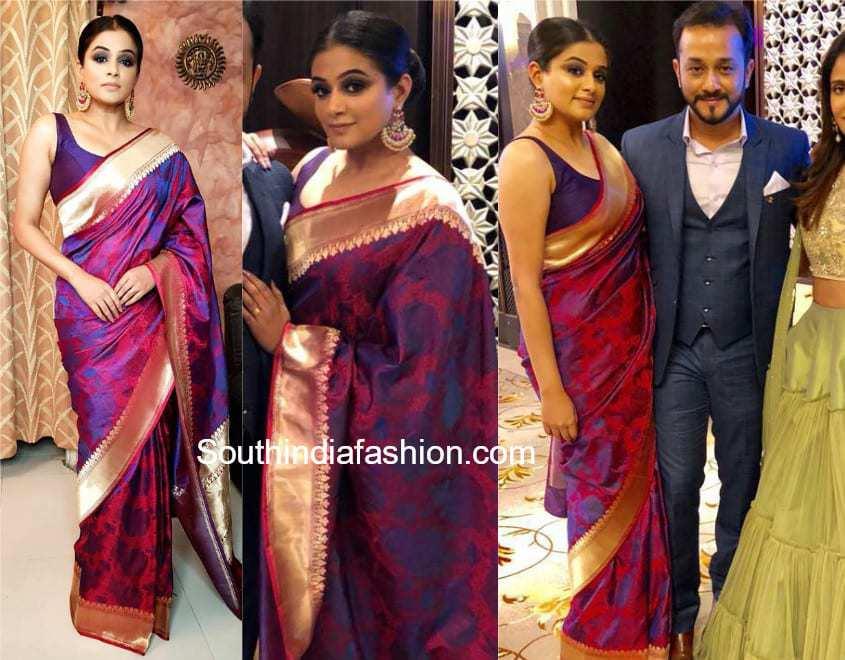 priyamani in singhanias silk saree at bhavana wedding reception