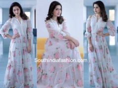 raashi khanna in a white cold shoulder maxi dress