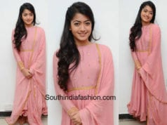 rashmika mandanna pink anarkali chalo thanks meet