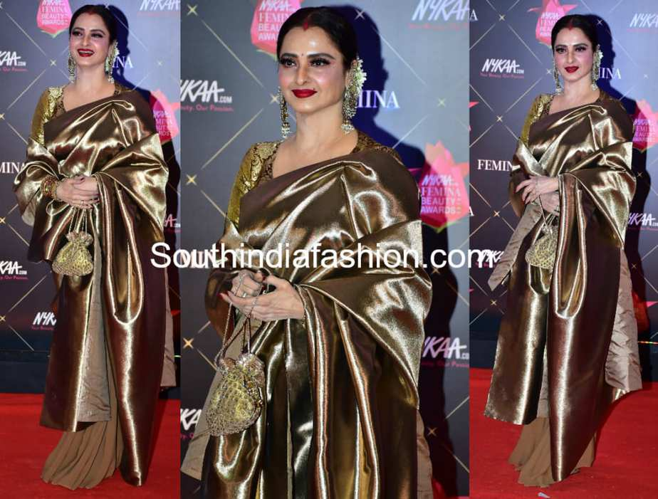 rekha in gold kanjeevaram saree at femina beauty awards 2018