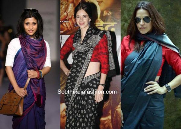 saree draping style around neck