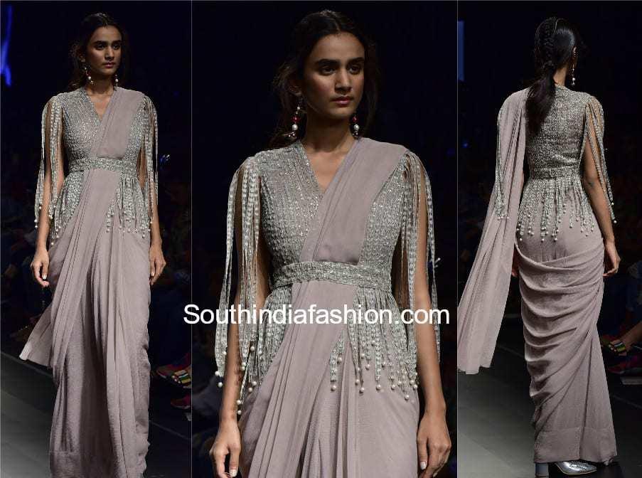 saree with fringe jacket blouse