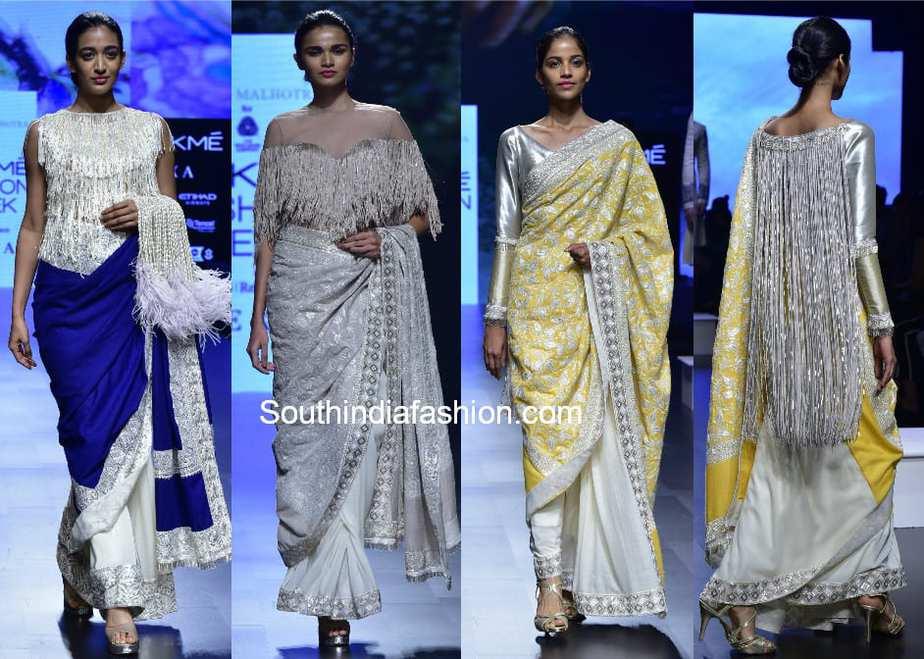 sarees with fringe cape blouse