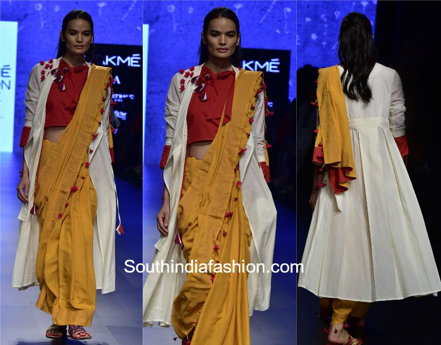 saree with long cape jacket