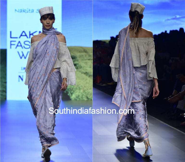 saree with off shoulder top