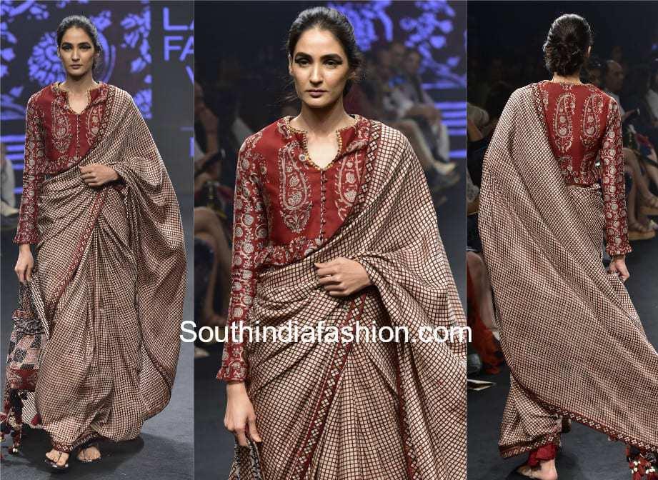 saree with peplum blouse