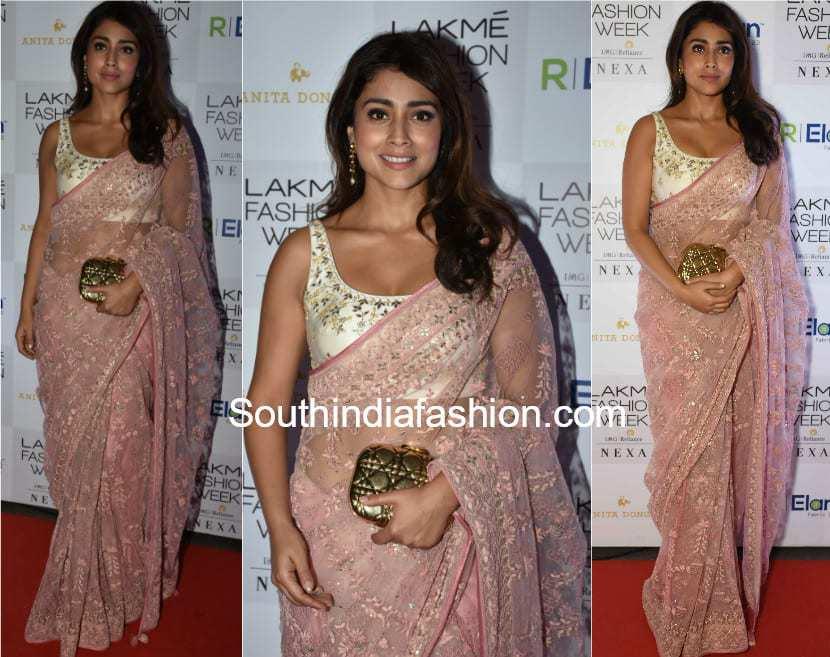 shriya saran in anita dongre saree at lakme fashion week 2018