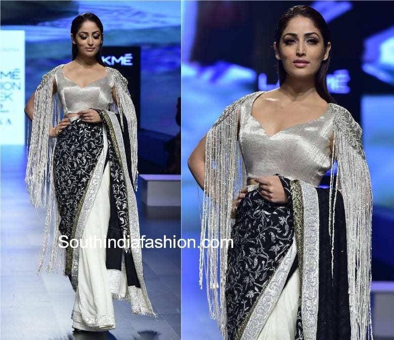 yami gautam in fringe saree lakme fashion week