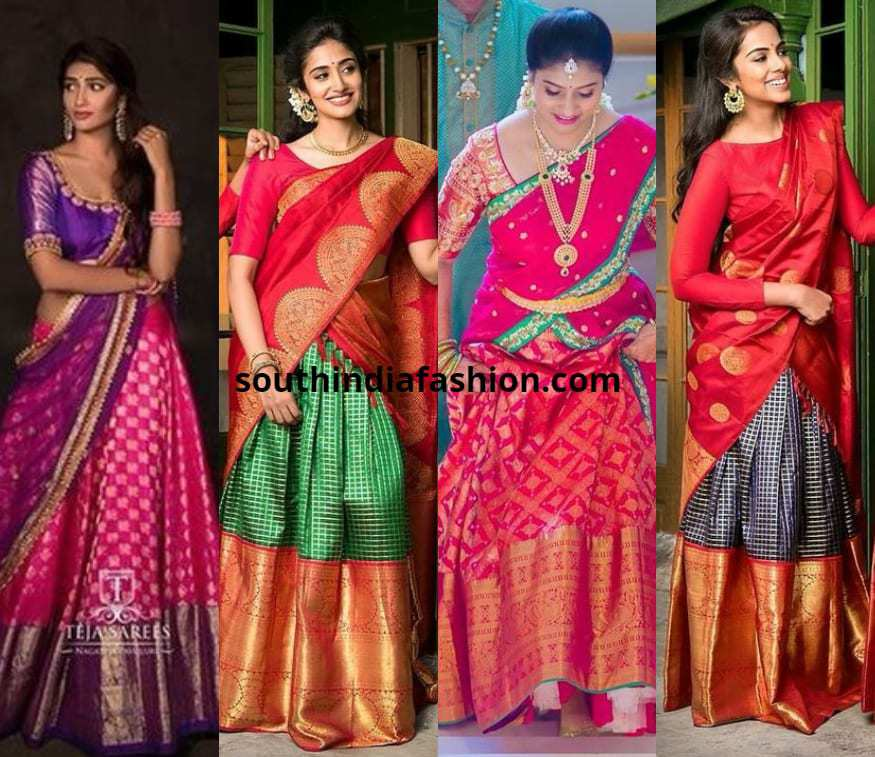 a4e2303f44 Traditional Pattu Half Sarees For 2018 Weddings And How To Rock Them