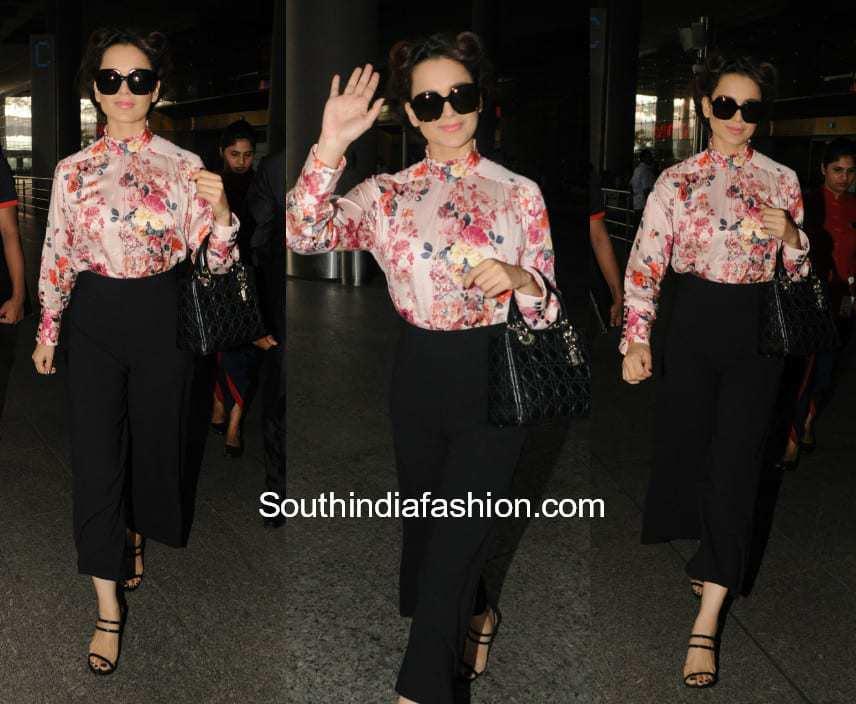 Kangana Ranaut in western wear at the airport