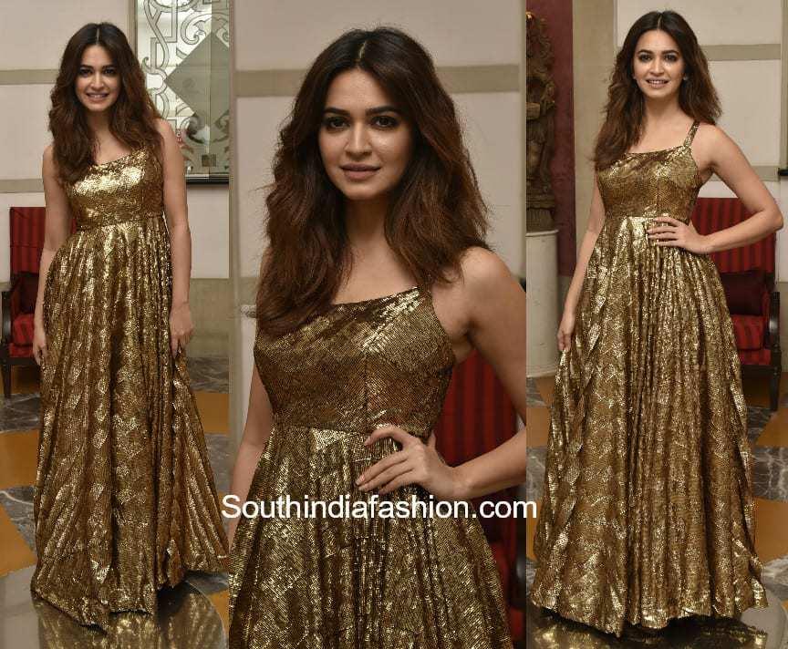 Kriti Kharbanda in a gold gown – South India Fashion