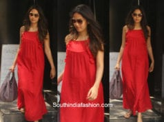 Mira Kapoor in a red summer dress