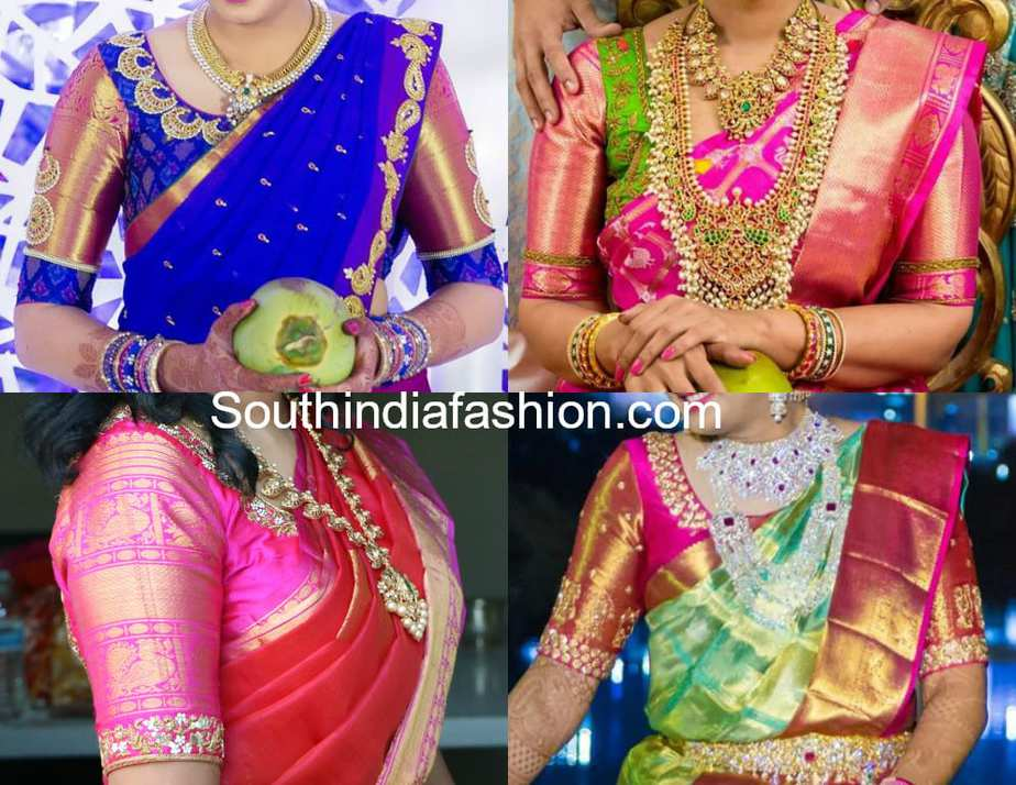 Big Zari Border Pattu Saree Blouse Designs South India Fashion
