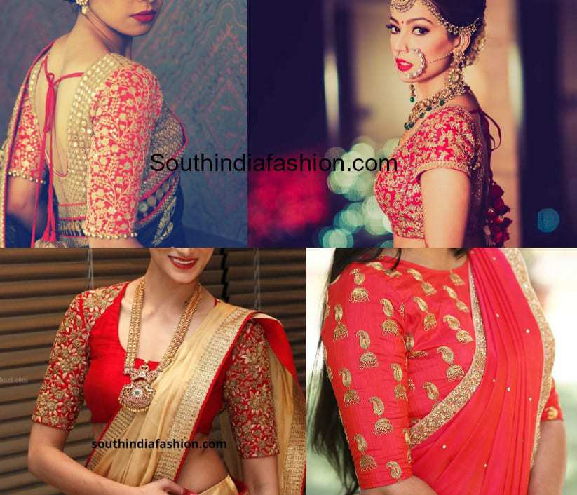 Red Embroidery Saree Blouse Designs