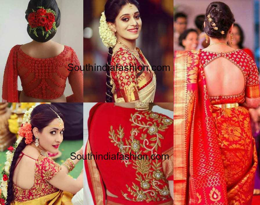 Red Embroidered Bridal Blouse Designs South India Fashion