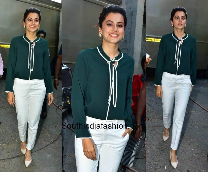 Taapsee Pannu in western wear at Filmistan