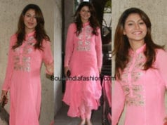 Urvashi Rautela in a pink suit