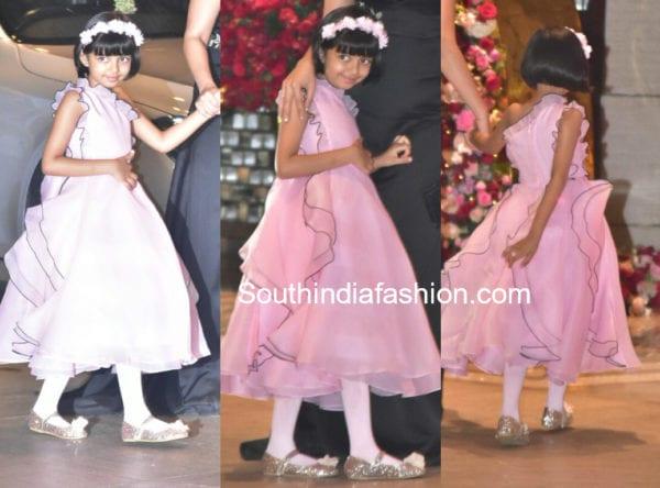 aardahya bachchan pnik gown at akash ambani engagement party